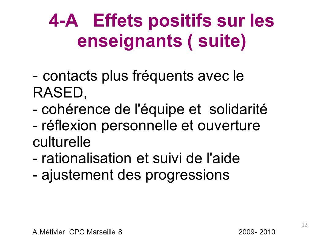 12 4-A Effets positifs sur les enseignants ( suite) - contacts plus fréquents avec le RASED, - cohérence de l équipe et solidarité - réflexion personnelle et ouverture culturelle - rationalisation et suivi de l aide - ajustement des progressions A.Métivier CPC Marseille 8 2009- 2010