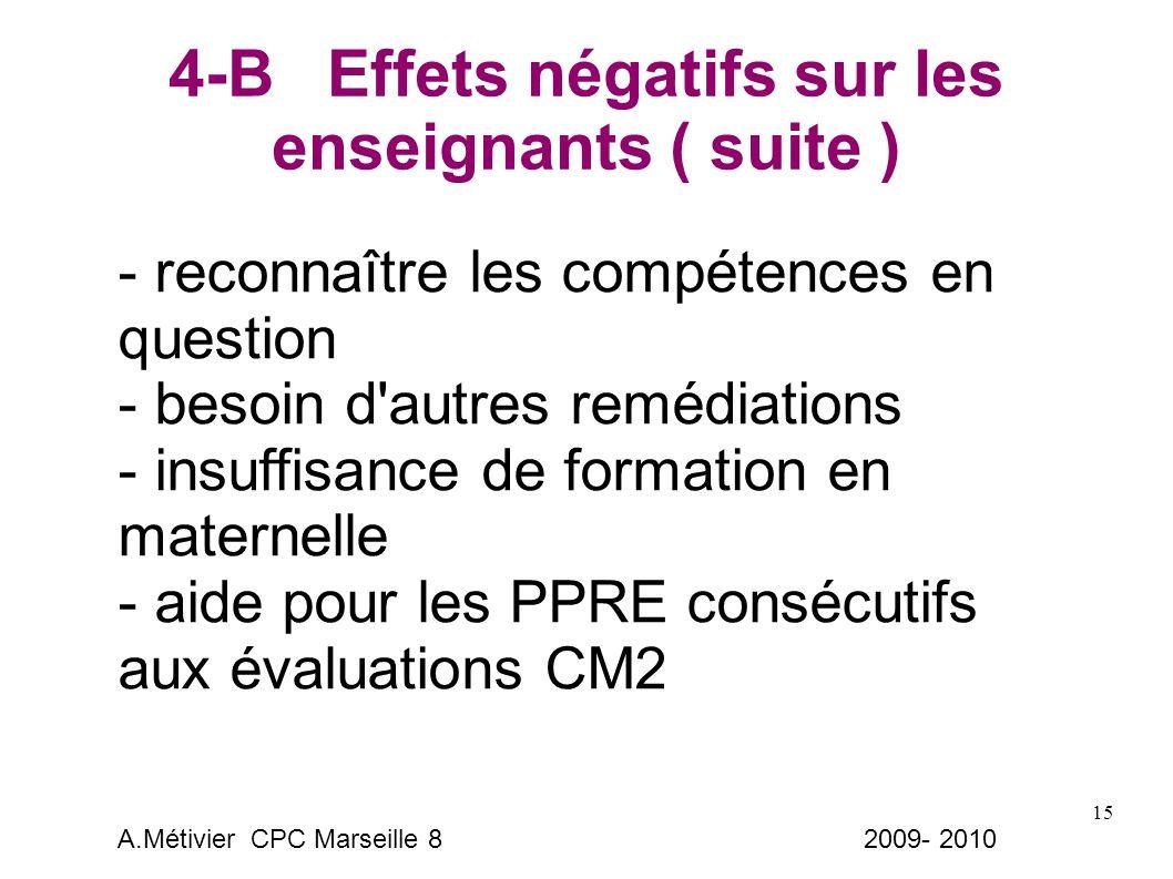 15 4-B Effets négatifs sur les enseignants ( suite ) - reconnaître les compétences en question - besoin d autres remédiations - insuffisance de formation en maternelle - aide pour les PPRE consécutifs aux évaluations CM2 A.Métivier CPC Marseille 8 2009- 2010