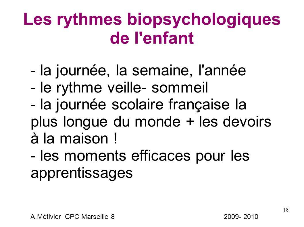 18 Les rythmes biopsychologiques de l enfant - la journée, la semaine, l année - le rythme veille- sommeil - la journée scolaire française la plus longue du monde + les devoirs à la maison .