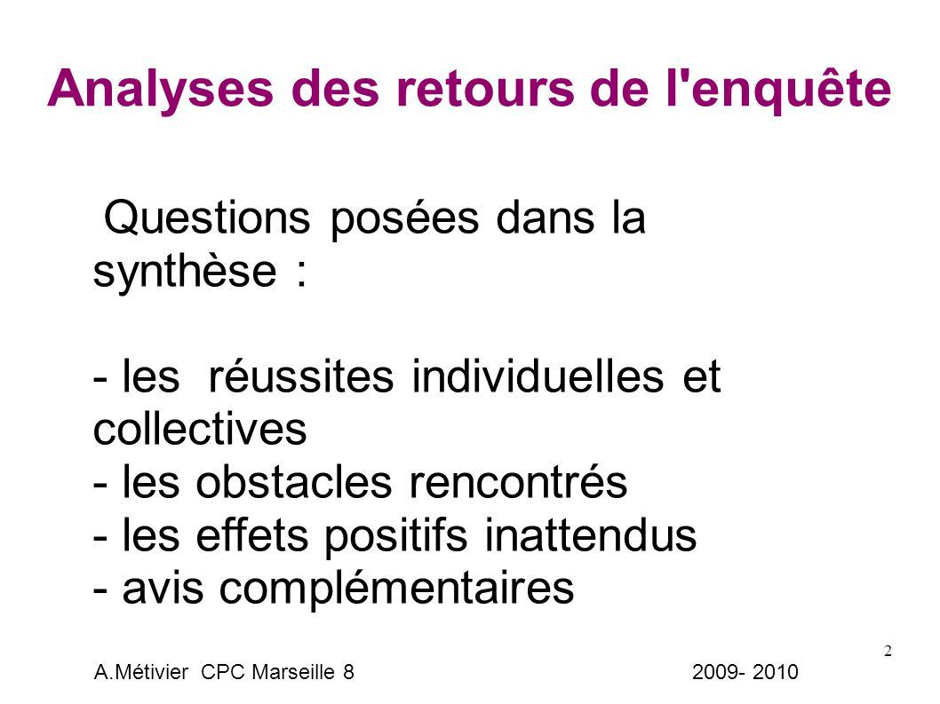 2 Analyses des retours de l enquête Questions posées dans la synthèse : - les réussites individuelles et collectives - les obstacles rencontrés - les effets positifs inattendus - avis complémentaires A.Métivier CPC Marseille 8 2009- 2010