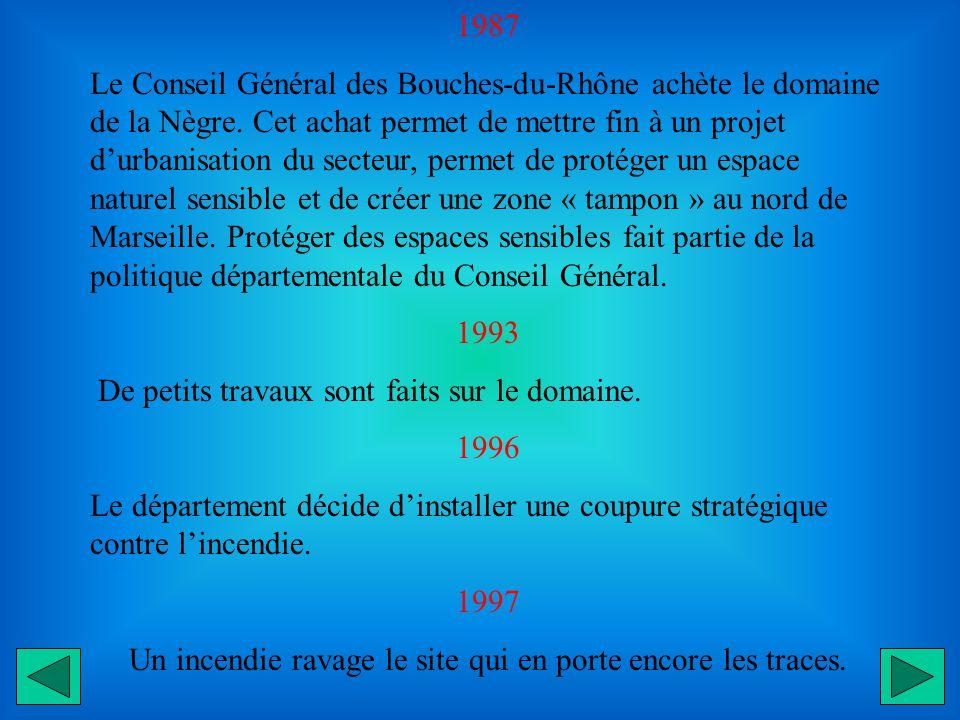 1987 Le Conseil Général des Bouches-du-Rhône achète le domaine de la Nègre.
