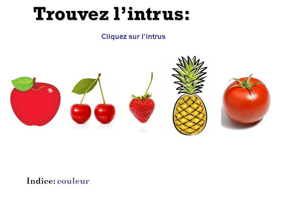 Trouvez lintrus: Cliquez sur lintrus Indice: couleur