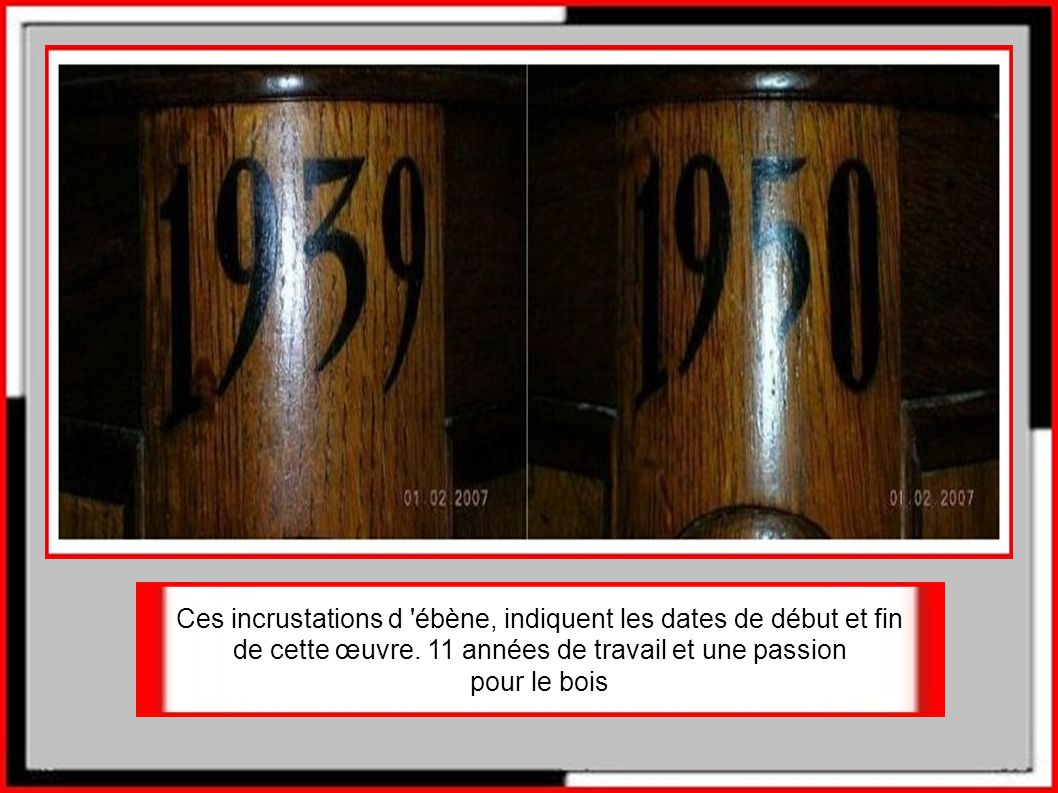 92 rouages, 3000dents, tous réalisés en bois et taillés à la main, au ciseau à bois.