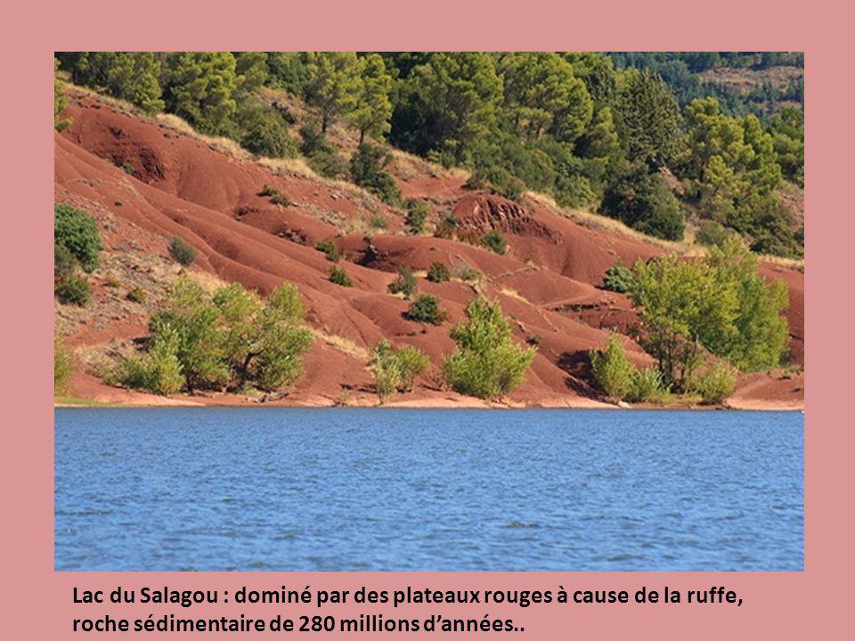 Lac du Salagou : dominé par des plateaux rouges à cause de la ruffe, roche sédimentaire de 280 millions dannées..