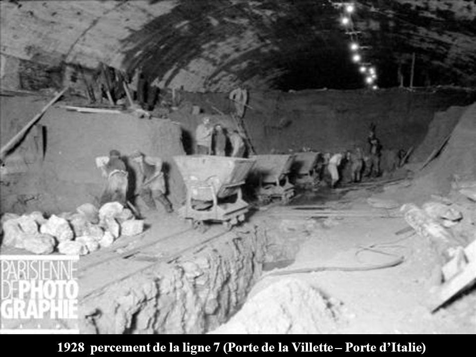 1928 percement de la ligne 7 (Porte de la Villette – Porte dItalie)