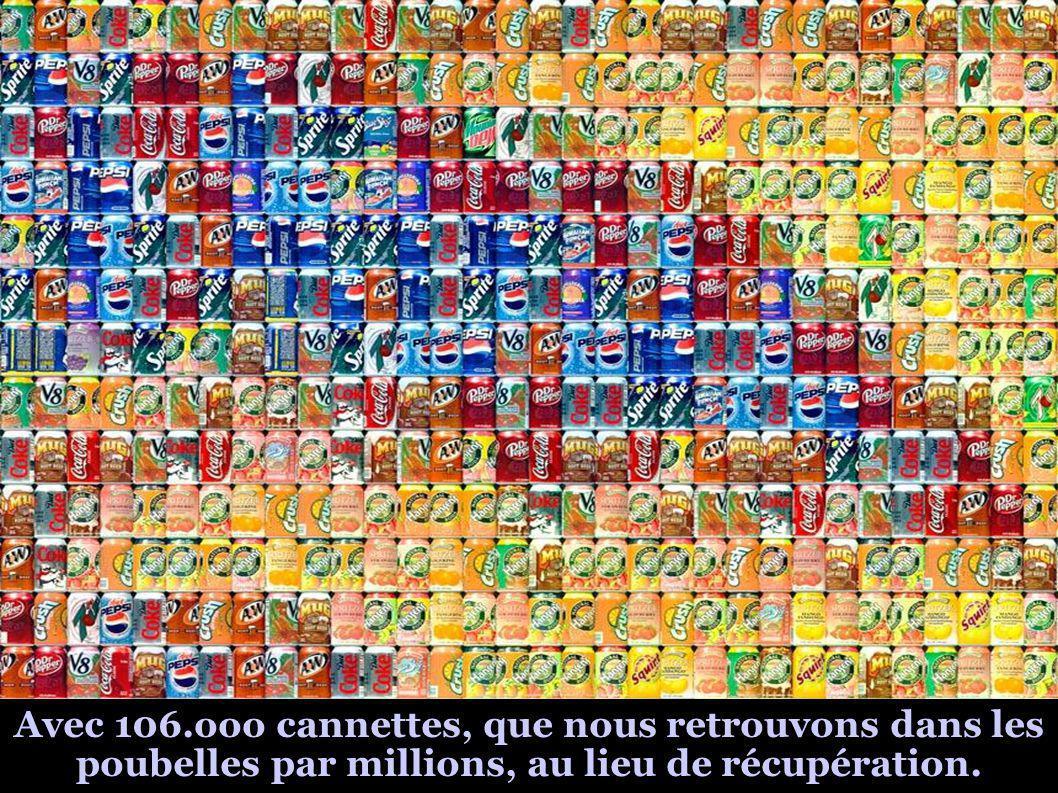 Avec 106.ooo cannettes, que nous retrouvons dans les poubelles par millions, au lieu de récupération.