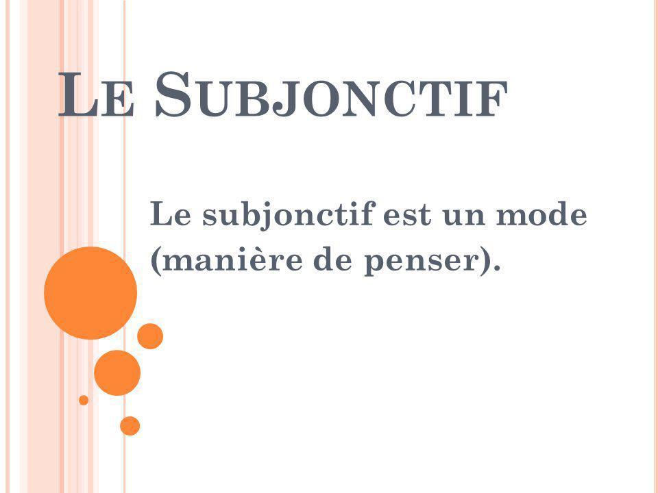 L E S UBJONCTIF Le subjonctif est un mode (manière de penser).