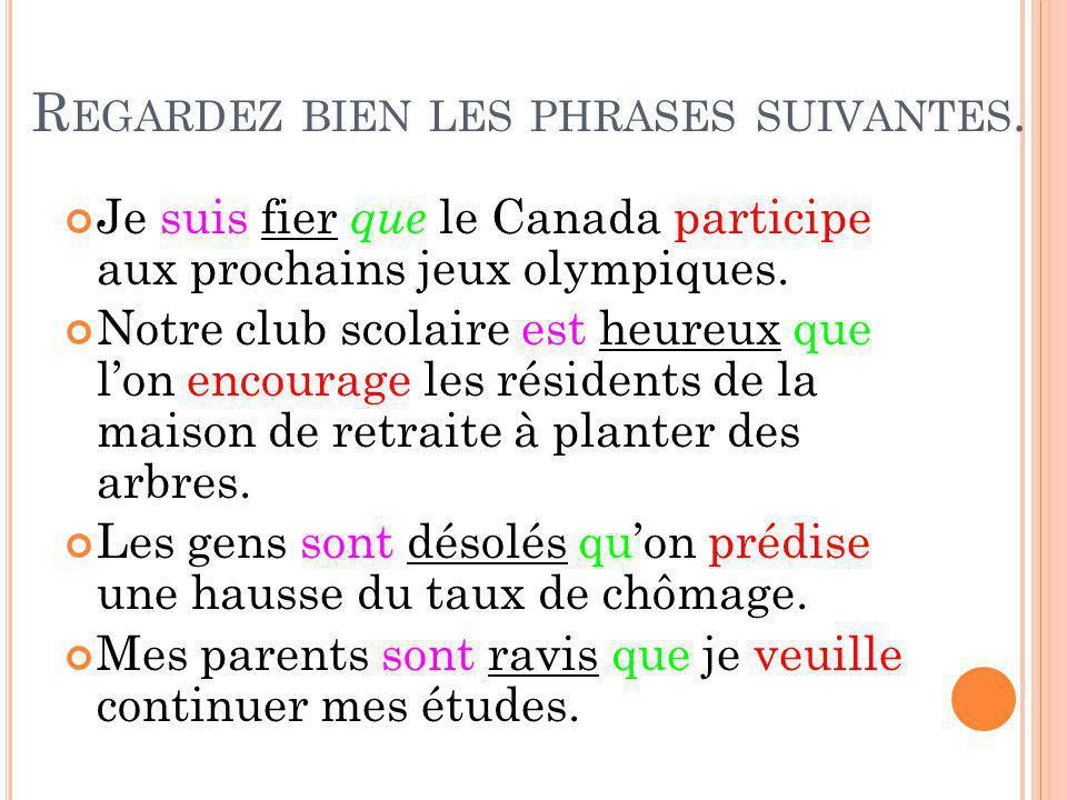 R EGARDEZ BIEN LES PHRASES SUIVANTES. Je suis fier que le Canada participe aux prochains jeux olympiques. Notre club scolaire est heureux que lon enco