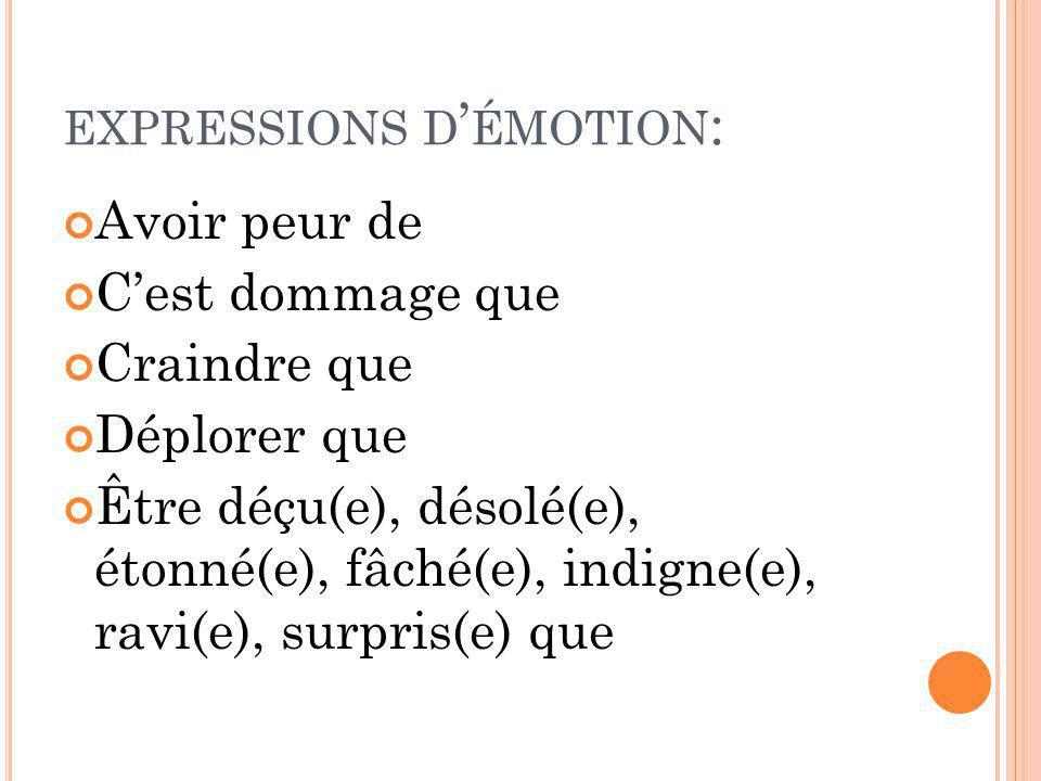 EXPRESSIONS D ÉMOTION : Avoir peur de Cest dommage que Craindre que Déplorer que Être déçu(e), désolé(e), étonné(e), fâché(e), indigne(e), ravi(e), su