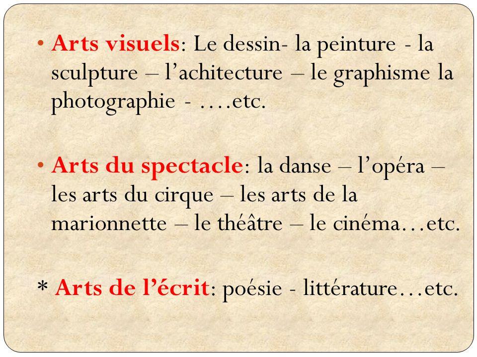 Arts visuels: Le dessin- la peinture - la sculpture – lachitecture – le graphisme la photographie - ….etc. Arts du spectacle: la danse – lopéra – les