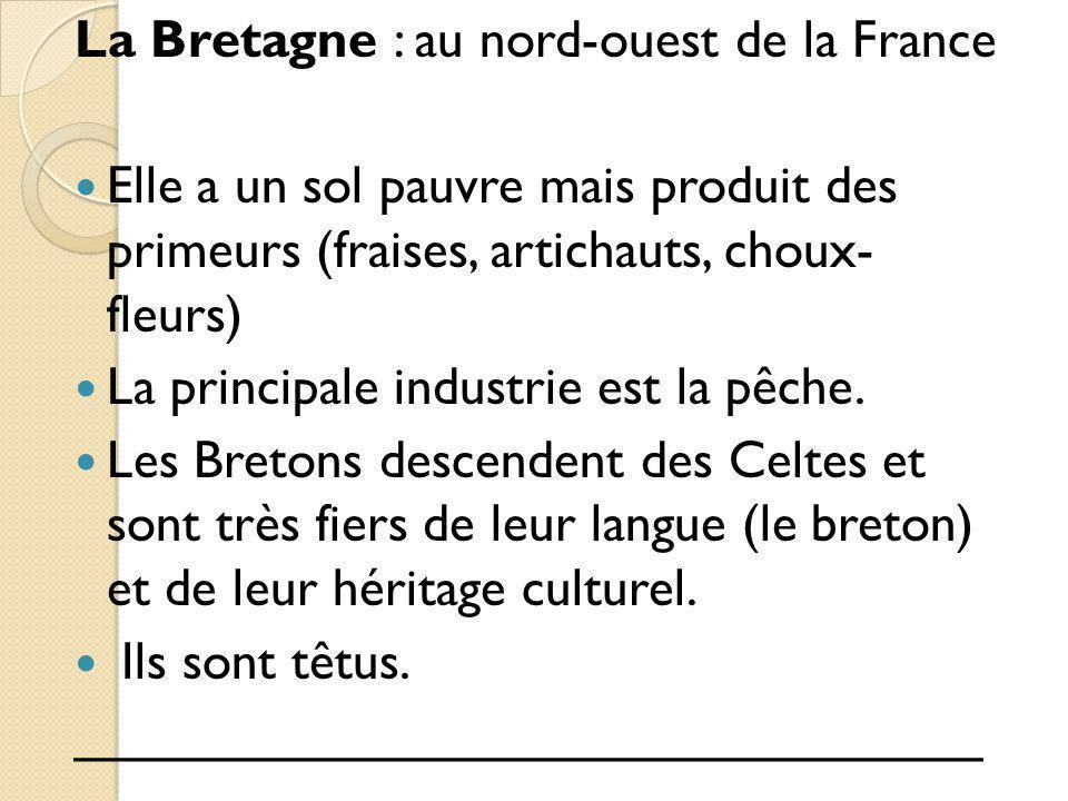 La Bretagne : au nord-ouest de la France Elle a un sol pauvre mais produit des primeurs (fraises, artichauts, choux- fleurs) La principale industrie e