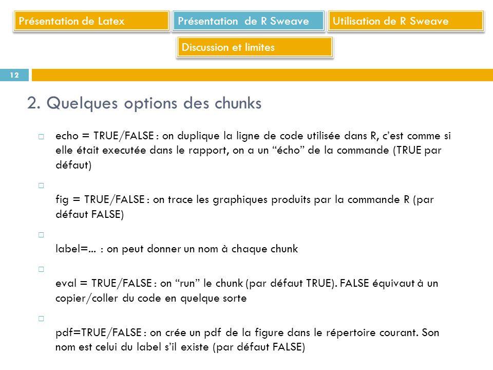 echo = TRUE/FALSE : on duplique la ligne de code utilisée dans R, cest comme si elle était executée dans le rapport, on a un écho de la commande (TRUE