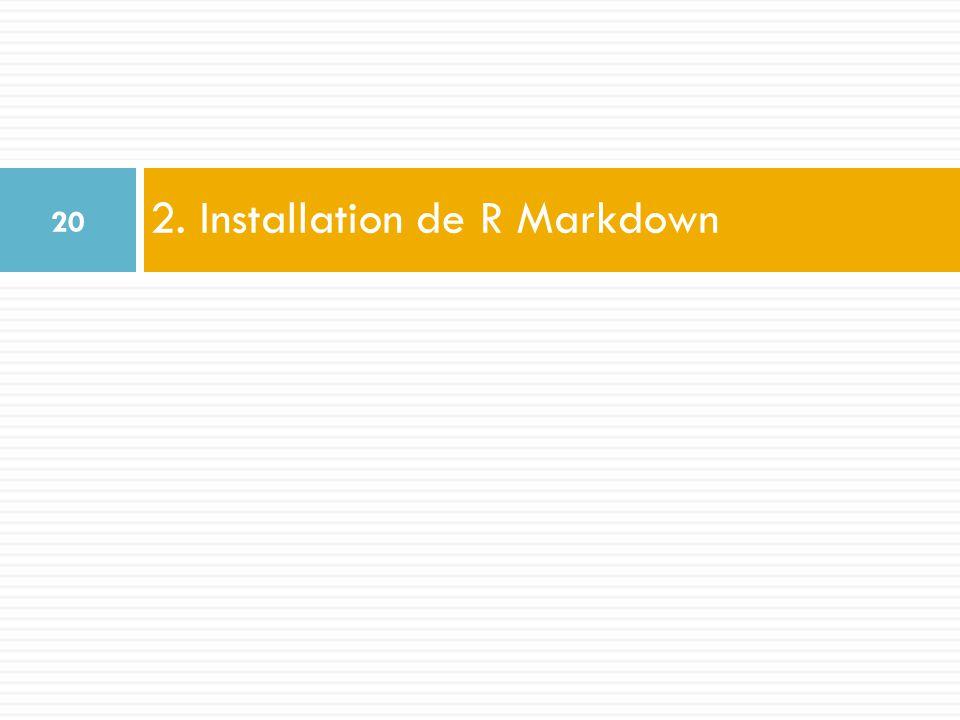 2. Installation de R Markdown 20