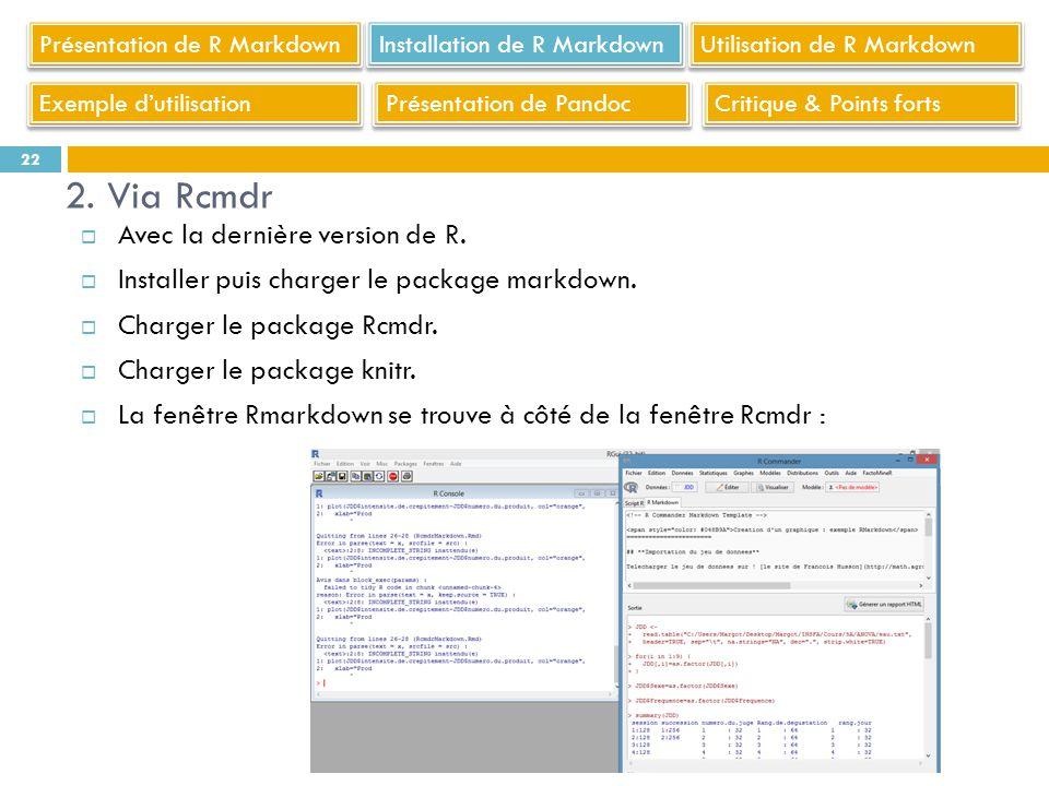 Avec la dernière version de R. Installer puis charger le package markdown. Charger le package Rcmdr. Charger le package knitr. La fenêtre Rmarkdown se