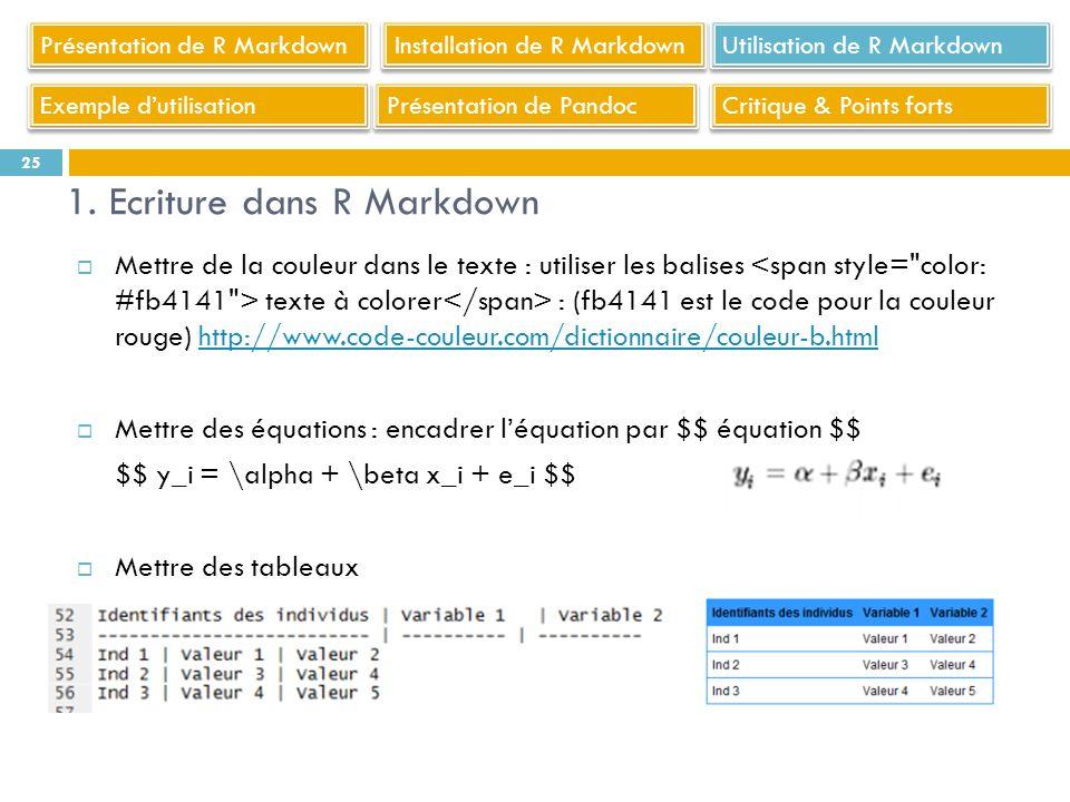25 Utilisation de R Markdown 1. Ecriture dans R Markdown Installation de R Markdown Présentation de R Markdown Exemple dutilisation Présentation de Pa
