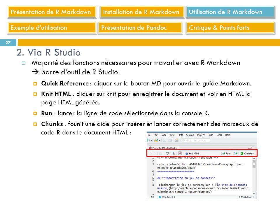 Majorité des fonctions nécessaires pour travailler avec R Markdown barre doutil de R Studio : Quick Reference : cliquer sur le bouton MD pour ouvrir l