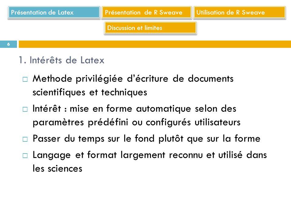 Références Partie Sweave : Brigitte Schaeffer (2011), « Introduire du code et des sorties R dans un document LaTeX avec Sweave », disponible sur le site internet http://ciam.inra.fr/r4ciam/node/184 consulté le 02/10/2013 J.R.