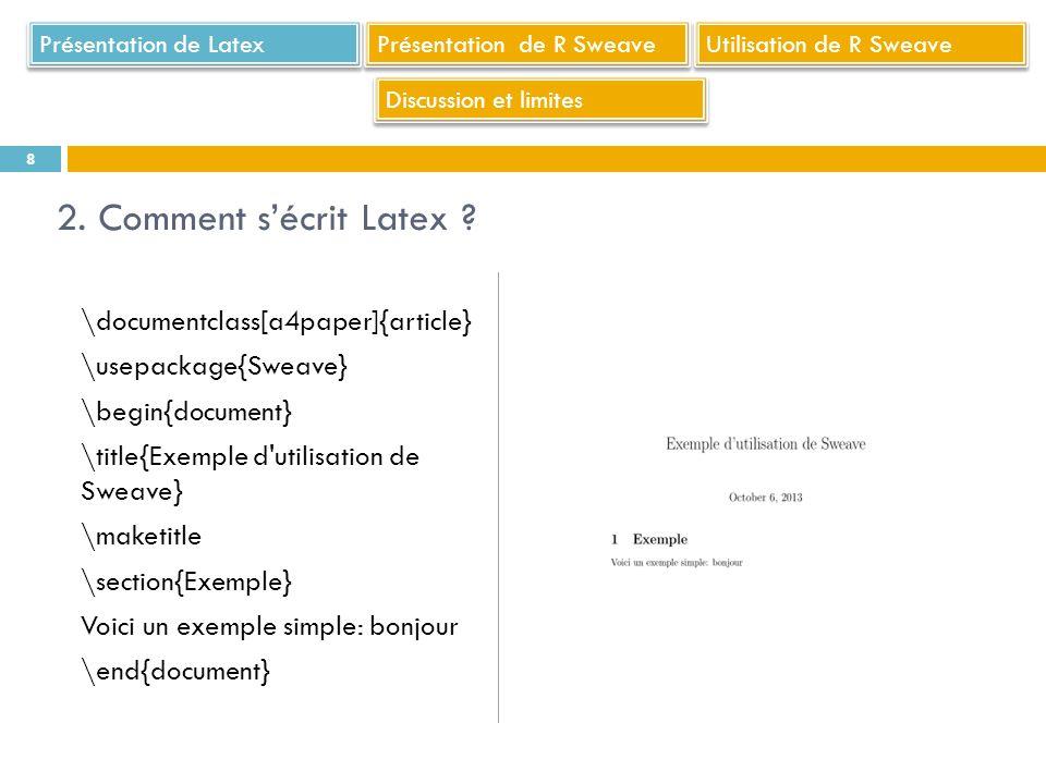 un éditeur : bloc-note peut faire laffaire, Sinon Notepad++ (éditeur multi-langage dont R et Latex) par exemple une distribution Latex (Miktex, TeXLive, proTex...en fonction de lOS) un lecteur de postscripts et pdf (Ghostscript, Ghostview, Adobe Reader…) Comment ces outils sarticulent .