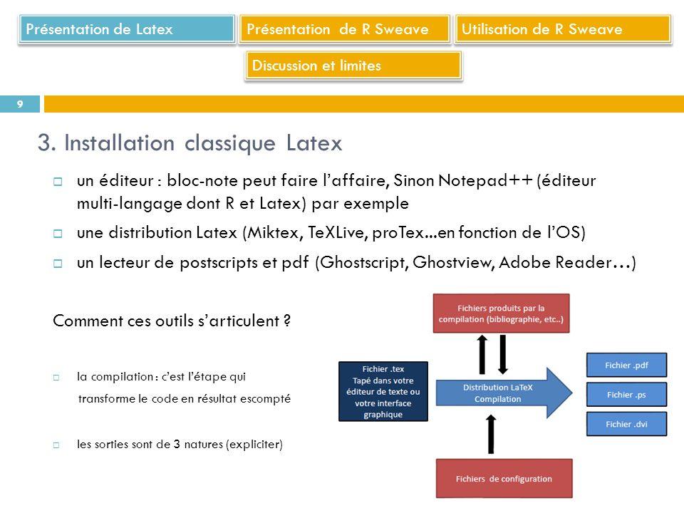 un éditeur : bloc-note peut faire laffaire, Sinon Notepad++ (éditeur multi-langage dont R et Latex) par exemple une distribution Latex (Miktex, TeXLiv