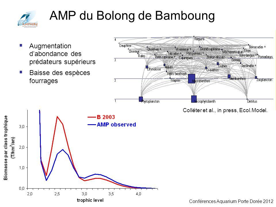 Conférences Aquarium Porte Dorée 2012 Augmentation dabondance des prédateurs supérieurs Baisse des espèces fourrages AMP du Bolong de Bamboung Colléte