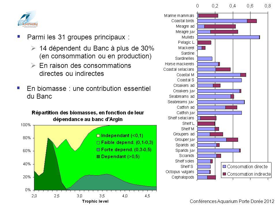 Conférences Aquarium Porte Dorée 2012 Parmi les 31 groupes principaux : 14 dépendent du Banc à plus de 30% (en consommation ou en production) En raiso