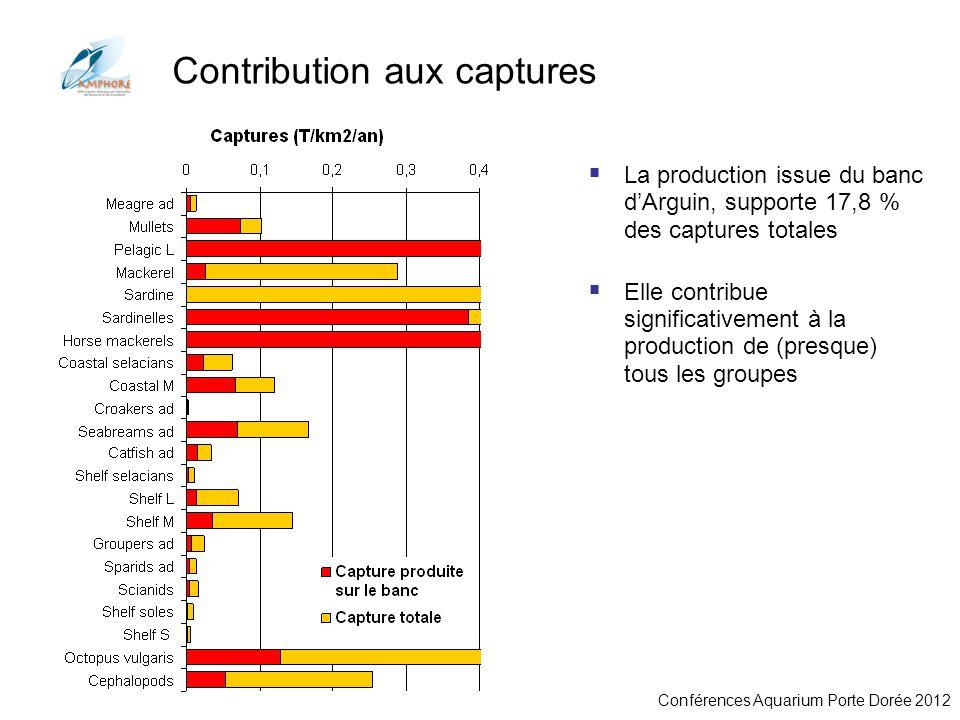 Conférences Aquarium Porte Dorée 2012 Contribution aux captures La production issue du banc dArguin, supporte 17,8 % des captures totales Elle contrib
