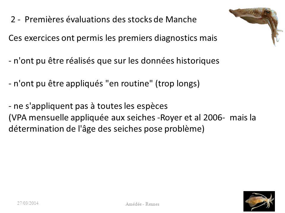 2 - Premières évaluations des stocks de Manche 13 Amédée - Rennes 27/03/2014 Ces exercices ont permis les premiers diagnostics mais - n ont pu être réalisés que sur les données historiques - n ont pu être appliqués en routine (trop longs) - ne s appliquent pas à toutes les espèces (VPA mensuelle appliquée aux seiches -Royer et al 2006- mais la détermination de l âge des seiches pose problème)
