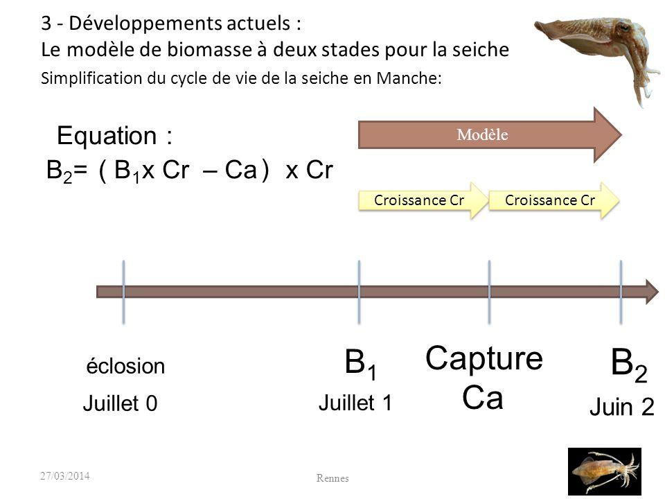 16 éclosion Juillet 0 B 1 Juillet 1 B 2 Juin 2 Modèle Croissance Cr Capture Ca Equation : B1B1 x Cr– Ca( ) x CrB2=B2= Croissance Cr Simplification du cycle de vie de la seiche en Manche: Rennes 27/03/2014 3 - Développements actuels : Le modèle de biomasse à deux stades pour la seiche