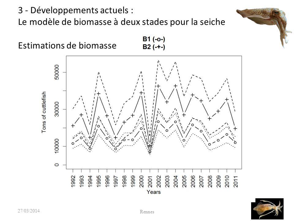 21 Rennes 27/03/2014 3 - Développements actuels : Le modèle de biomasse à deux stades pour la seiche Estimations de biomasse