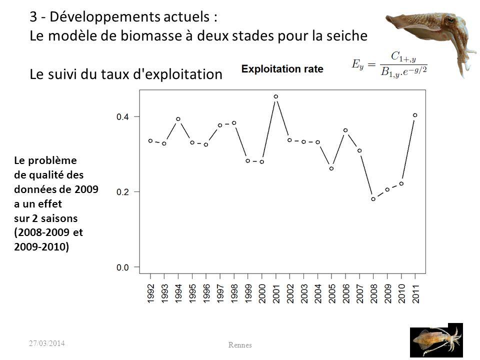 22 Le problème de qualité des données de 2009 a un effet sur 2 saisons (2008-2009 et 2009-2010) Rennes 27/03/2014 3 - Développements actuels : Le modèle de biomasse à deux stades pour la seiche Le suivi du taux d exploitation