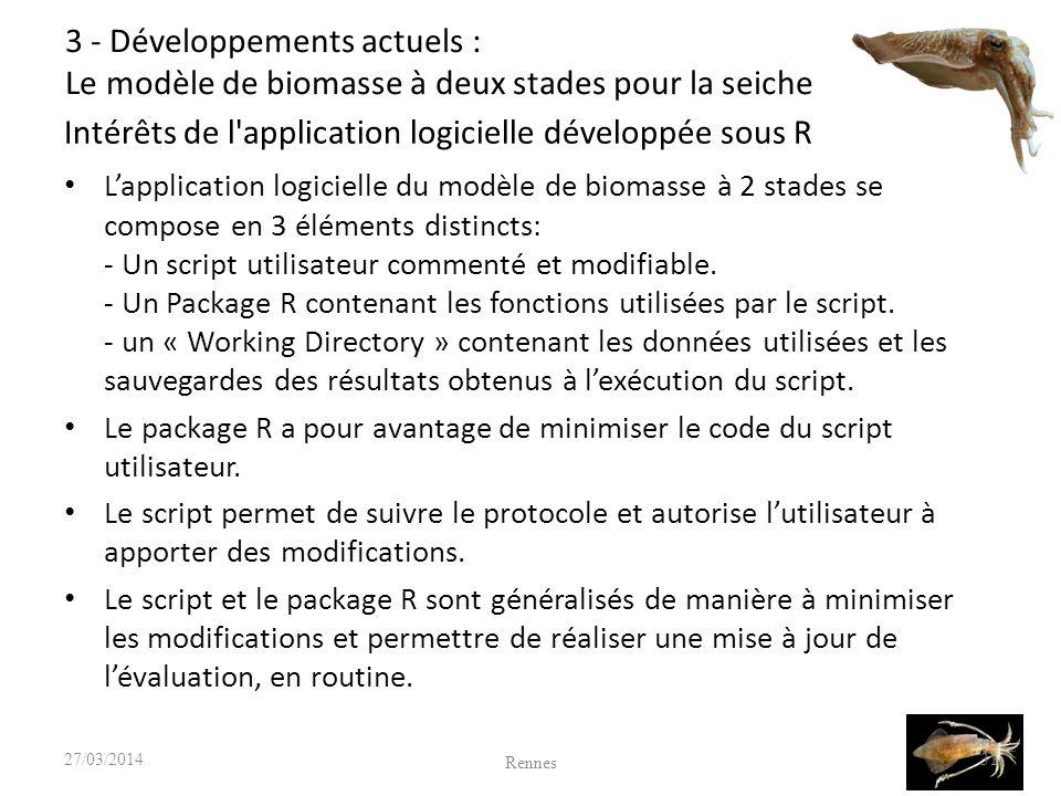 Intérêts de l application logicielle développée sous R Lapplication logicielle du modèle de biomasse à 2 stades se compose en 3 éléments distincts: - Un script utilisateur commenté et modifiable.