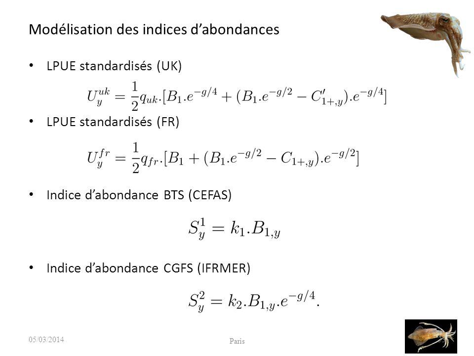 Modélisation des indices dabondances LPUE standardisés (UK) LPUE standardisés (FR) Indice dabondance BTS (CEFAS) Indice dabondance CGFS (IFRMER) 05/03/2014 Paris 33