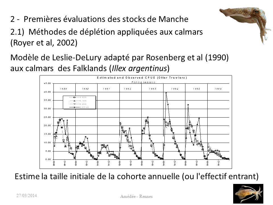 2 - Premières évaluations des stocks de Manche 9 Amédée - Rennes 27/03/2014 2.1) Méthodes de déplétion appliquées aux calmars (Royer et al, 2002) Modèle de Leslie-DeLury adapté par Rosenberg et al (1990) aux calmars des Falklands (Illex argentinus) Estime la taille initiale de la cohorte annuelle (ou l effectif entrant)