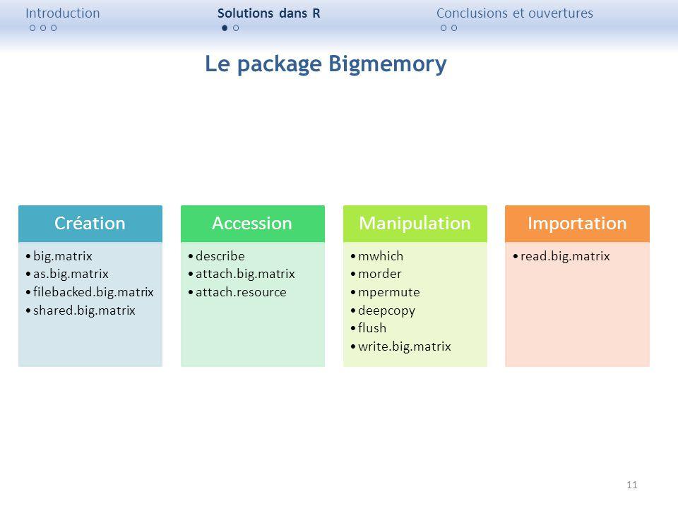 11 IntroductionSolutions dans RConclusions et ouvertures Création big.matrix as.big.matrix filebacked.big.matrix shared.big.matrix Accession describe