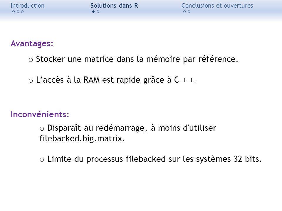 IntroductionSolutions dans RConclusions et ouvertures Avantages: o Stocker une matrice dans la mémoire par référence. o Laccès à la RAM est rapide grâ