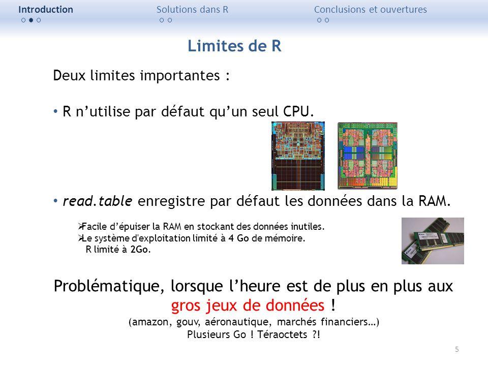 5 IntroductionSolutions dans RConclusions et ouvertures Deux limites importantes : R nutilise par défaut quun seul CPU. read.table enregistre par défa