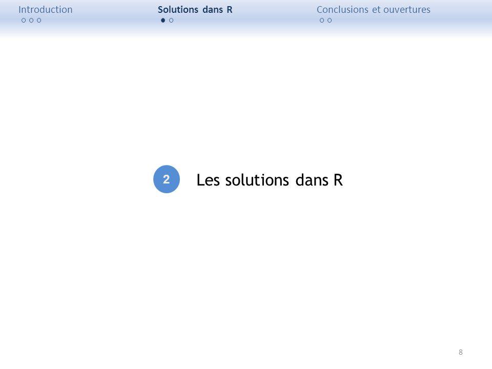 8 IntroductionSolutions dans RConclusions et ouvertures Les solutions dans R 2