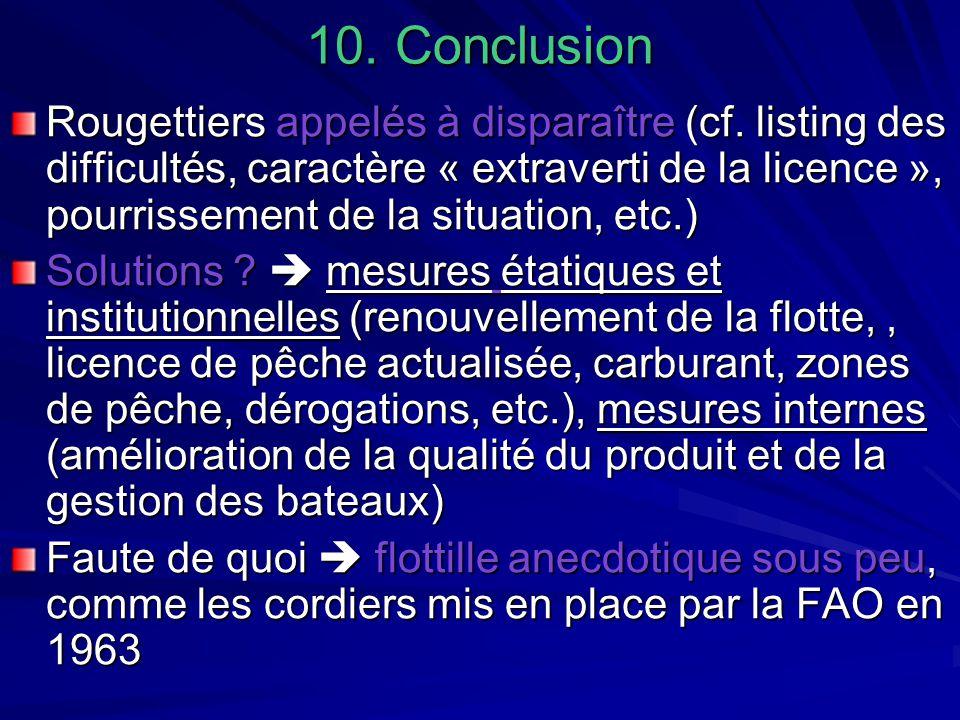 10. Conclusion Rougettiers appelés à disparaître (cf. listing des difficultés, caractère « extraverti de la licence », pourrissement de la situation,