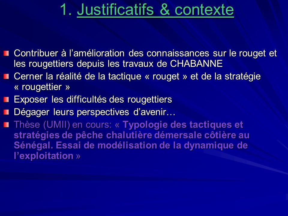 1. Justificatifs & contexte 1. Justificatifs & contexte Contribuer à lamélioration des connaissances sur le rouget et les rougettiers depuis les trava