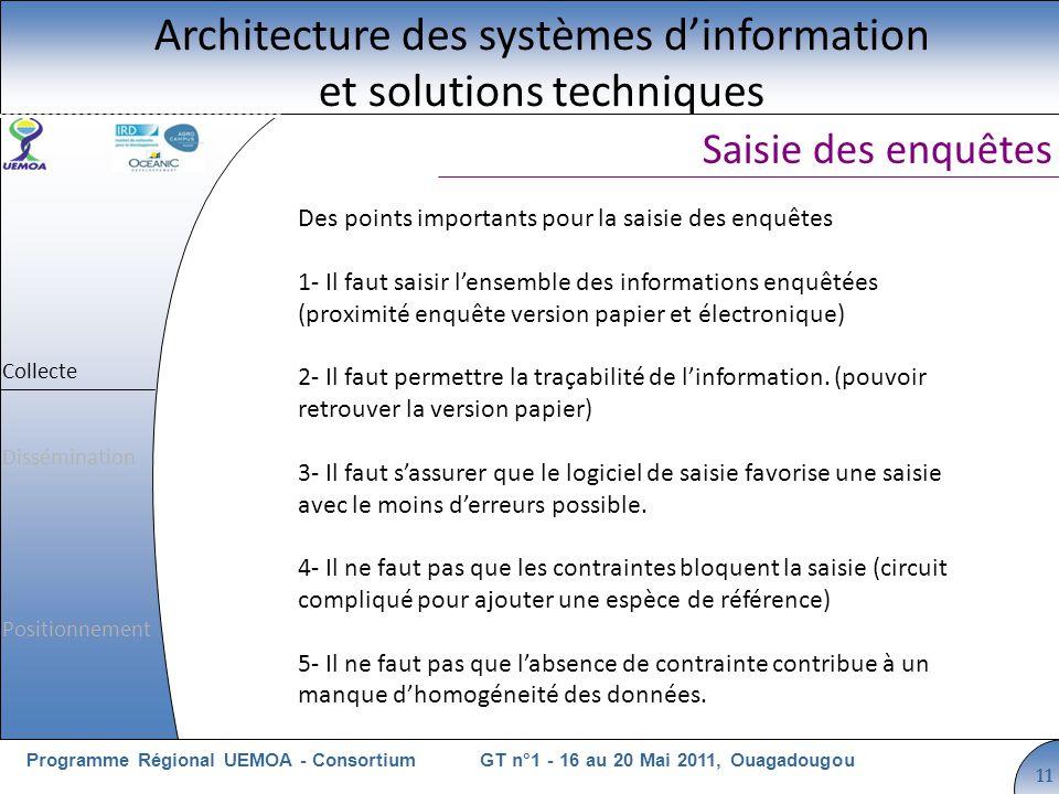 Cliquez pour modifier le style du titre GT n°1 - 16 au 20 Mai 2011, OuagadougouProgramme Régional UEMOA - Consortium 11 Des points importants pour la