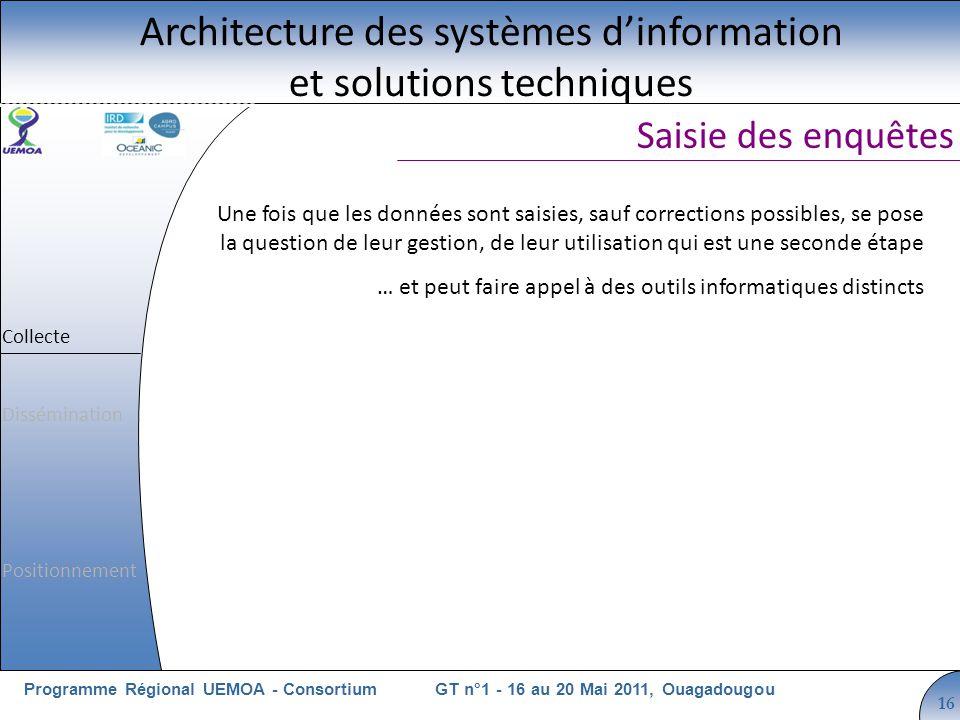 Cliquez pour modifier le style du titre GT n°1 - 16 au 20 Mai 2011, OuagadougouProgramme Régional UEMOA - Consortium 16 Saisie des enquêtes Architectu