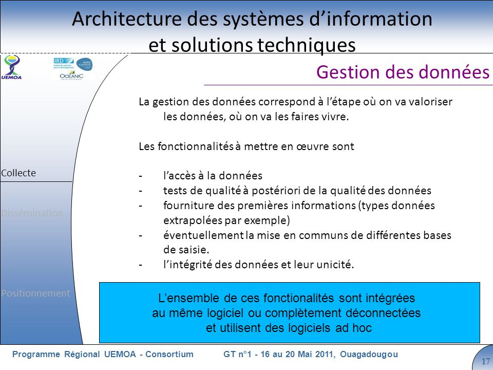 Cliquez pour modifier le style du titre GT n°1 - 16 au 20 Mai 2011, OuagadougouProgramme Régional UEMOA - Consortium 17 La gestion des données correspond à létape où on va valoriser les données, où on va les faires vivre.