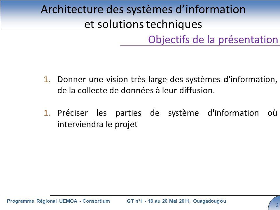 Cliquez pour modifier le style du titre GT n°1 - 16 au 20 Mai 2011, OuagadougouProgramme Régional UEMOA - Consortium 2 Architecture des systèmes dinformation et solutions techniques Objectifs de la présentation 1.Donner une vision très large des systèmes d information, de la collecte de données à leur diffusion.