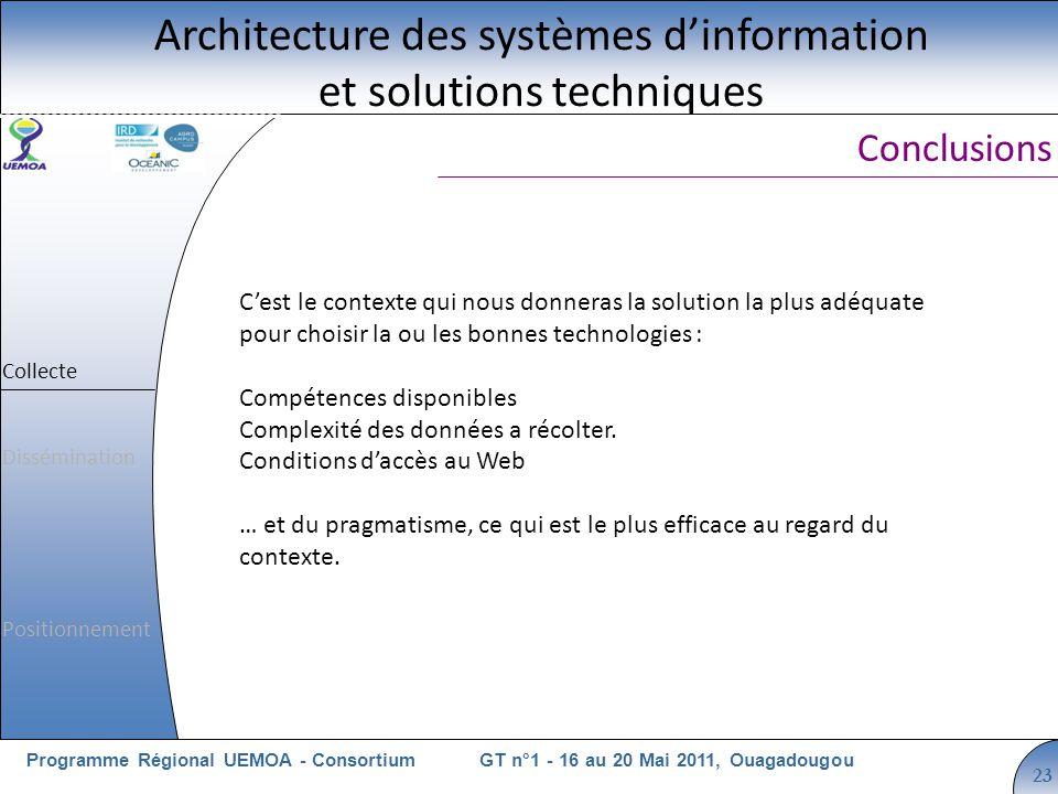 Cliquez pour modifier le style du titre GT n°1 - 16 au 20 Mai 2011, OuagadougouProgramme Régional UEMOA - Consortium 23 Cest le contexte qui nous donneras la solution la plus adéquate pour choisir la ou les bonnes technologies : Compétences disponibles Complexité des données a récolter.
