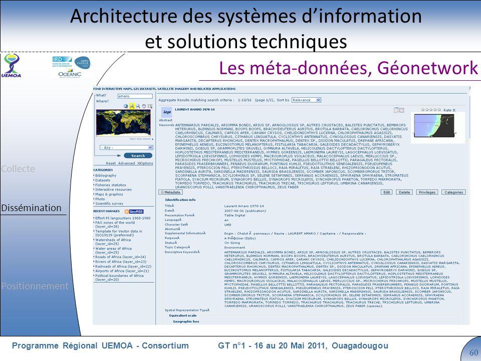 Cliquez pour modifier le style du titre GT n°1 - 16 au 20 Mai 2011, OuagadougouProgramme Régional UEMOA - Consortium 60 Les méta-données, Géonetwork Architecture des systèmes dinformation et solutions techniques Collecte Dissémination Positionnement