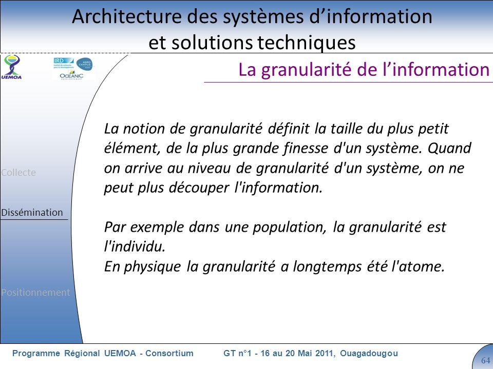 Cliquez pour modifier le style du titre GT n°1 - 16 au 20 Mai 2011, OuagadougouProgramme Régional UEMOA - Consortium 64 La granularité de linformation