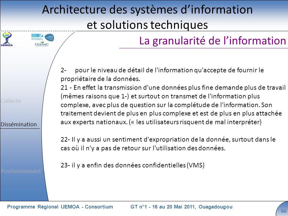 Cliquez pour modifier le style du titre GT n°1 - 16 au 20 Mai 2011, OuagadougouProgramme Régional UEMOA - Consortium 66 La granularité de linformation Architecture des systèmes dinformation et solutions techniques 2-pour le niveau de détail de l information qu accepte de fournir le propriétaire de la données.