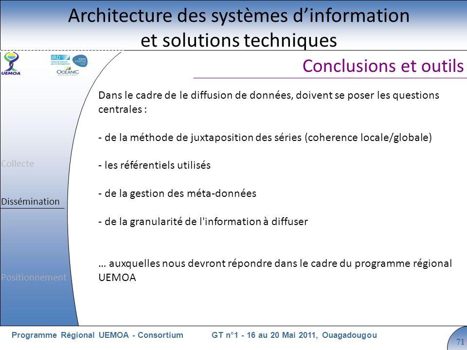 Cliquez pour modifier le style du titre GT n°1 - 16 au 20 Mai 2011, OuagadougouProgramme Régional UEMOA - Consortium 71 Conclusions et outils Architecture des systèmes dinformation et solutions techniques Dans le cadre de le diffusion de données, doivent se poser les questions centrales : - de la méthode de juxtaposition des séries (coherence locale/globale) - les référentiels utilisés - de la gestion des méta-données - de la granularité de l information à diffuser … auxquelles nous devront répondre dans le cadre du programme régional UEMOA Collecte Dissémination Positionnement
