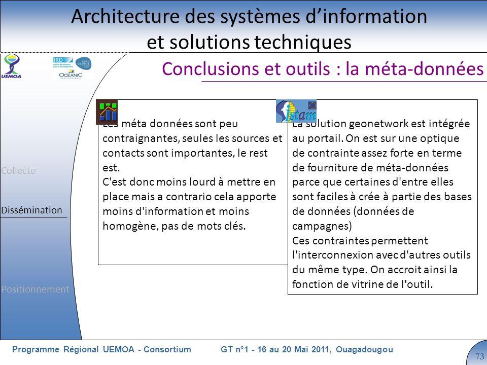 Cliquez pour modifier le style du titre GT n°1 - 16 au 20 Mai 2011, OuagadougouProgramme Régional UEMOA - Consortium 73 Conclusions et outils : la méta-données Architecture des systèmes dinformation et solutions techniques Les méta données sont peu contraignantes, seules les sources et contacts sont importantes, le rest est.