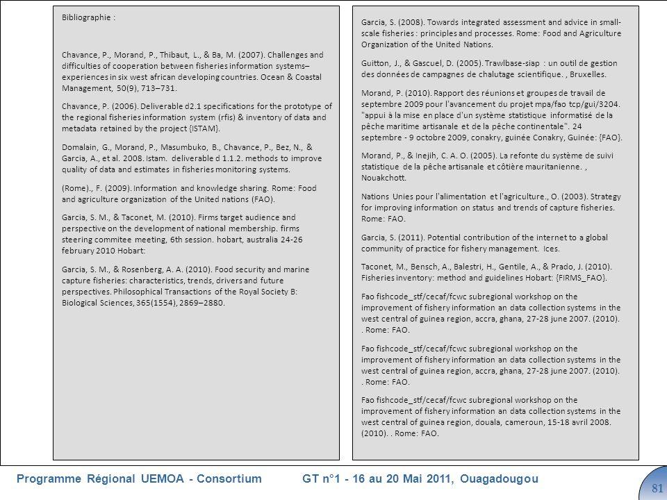 Cliquez pour modifier le style du titre GT n°1 - 16 au 20 Mai 2011, OuagadougouProgramme Régional UEMOA - Consortium 81 Bibliographie : Chavance, P., Morand, P., Thibaut, L., & Ba, M.